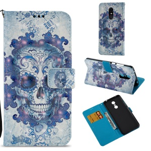3D Pattern Printing Wallet Leather Mobile Cover for Xiaomi Redmi Note 5 (12MP Rear Camera) / Redmi 5 Plus (China) - Cool Skull