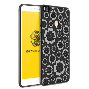 3D Flower Pattern Soft TPU Protection Case for Xiaomi Mi Max 2 - Black