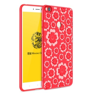 3D Flower Pattern Soft TPU Mobile Casing for Xiaomi Mi Max 2 - Red