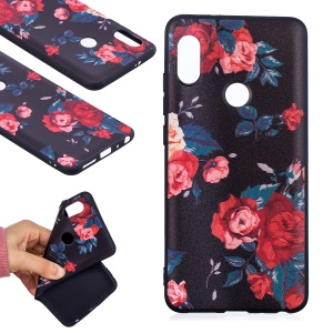 Soft Embossed Pattern Printing TPU Protective Cell Phone Case for Xiaomi Redmi Note 5 Pro (Dual Camera) / Redmi Note 5 (China) - Peony