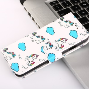 Embossed Pattern Printing Leather Stand Phone Case for Xiaomi Redmi Note 4X - Unicorns and Cloud