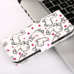 Embossment Pattern Stand Leather Wallet Phone Shell for Xiaomi Redmi Note 5A / Y1 Lite (India) - Cute Alpacas