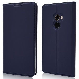 Magnetic Adsorption Leather Stand Case with Card Slot for Xiaomi Mi Mix 2 - Dark Blue