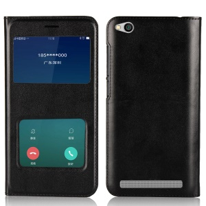 Dual View Window Slim Leather Protective Case for Xiaomi Redmi 5A - Black