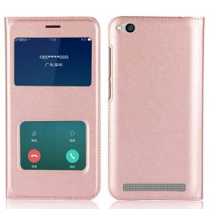 Dual View Window Leather Protective Cover for Xiaomi Redmi 5A - Rose Gold
