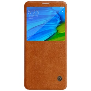 NILLKIN Qin Series View Window Leather Smart Cover Accessory for Xiaomi Redmi Note 5 Pro (Dual Camera) / Redmi Note 5 (China) - Brown