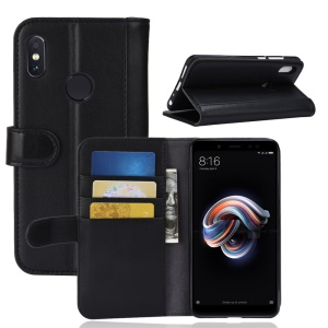 Genuine Split Leather Wallet Stand Case for Xiaomi Redmi Note 5 Pro (Dual Camera) / Redmi Note 5 (China) - Black