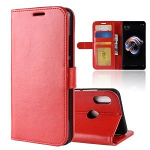 Crazy Horse Texture Wallet Stand Leather Case Accessory for Xiaomi Redmi Note 5 Pro (Dual Camera) / Redmi Note 5 (China) - Red