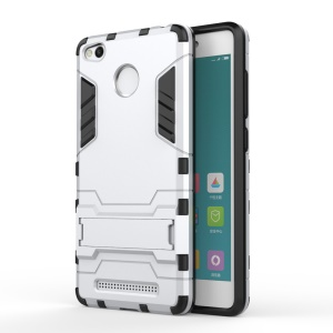 Solid PC + TPU Hybrid Case with Kickstand for Xiaomi Redmi 3 Pro - Silver