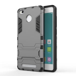 Solid PC + TPU Hybrid Shell Case with Kickstand for Xiaomi Redmi 3 Pro - Grey