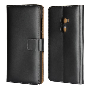 Split Leather Wallet Stand Mobile Phone Case Cover Shell for Xiaomi Mi Mix 2 - Black