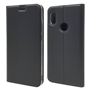 Magnetic Adsorption Leather Card Holder Case for Xiaomi Mi A2 / Mi 6X - Black