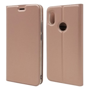 Magnetic Adsorption Leather Card Holder Cover for Xiaomi Mi 6X - Rose Gold