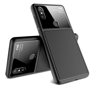 LENUO Tempered Glass Lens TPU Case for Xiaomi Mi Mix 2s - Black