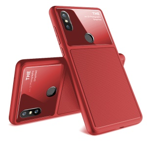 LENUO Tempered Glass Lens TPU Protective Back Case for Xiaomi Mi Mix 2s - Red