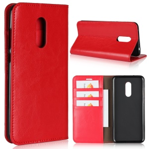 Crazy Horse Genuine Leather Wallet Flip Casing for Xiaomi Redmi Note 5 (12MP Rear Camera) / Redmi 5 Plus (China) - Red