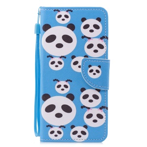 Pattern Printing PU Leather Stand Shell with Card Slots for Xiaomi Mi 6X / Mi A2 - Panda Pattern