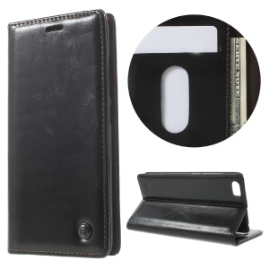 CASEME Oil Wax Crazy Horse Leather Wallet Case for Xiaomi Mi 5 - Black