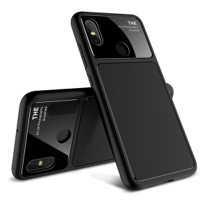 LENUO Tempered Glass Lens TPU Phone Case for Xiaomi Mi 8 - Black