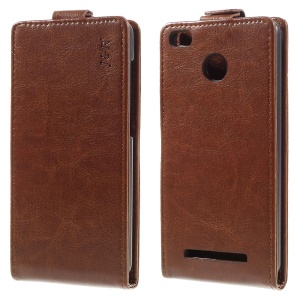 J&R Vertical Flip Leather Phone Case for Xiaomi Redmi 3 Pro - Brown