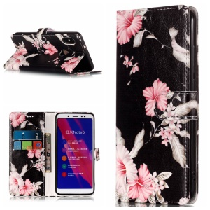 Pattern Printing Wallet Stand Leather Phone Casing for Xiaomi Redmi Note 5 Pro (Dual Camera) / Redmi Note 5 (China) - Beautiful Flowers
