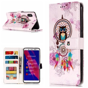 Embossing Pattern  Leather Wallet Stand Case for Xiaomi Redmi Note 5 Pro (Dual Camera) / Redmi Note 5 (China) - Dream Catcher and Owl