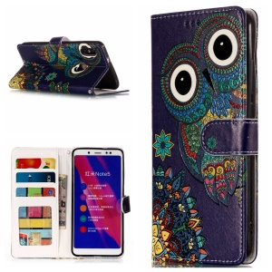 Embossing Pattern  Leather Wallet Stand Phone Casing for Xiaomi Redmi Note 5 Pro (Dual Camera) / Redmi Note 5 (China) - Tribal Style Owl