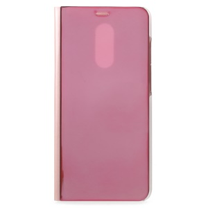 View Window Plated Mirror Surface Leather Phone Accessory Case with Stand for Xiaomi Redmi 5 - Rose Gold