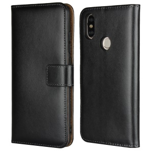 Genuine Leather Wallet Stand Phone Case for Xiaomi Mi 6X - Black