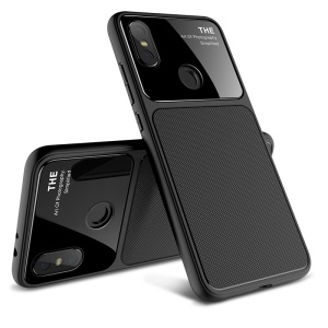 LENUO Tempered Glass Lens TPU Phone Case for Xiaomi Mi A2 / Mi 6X - Black