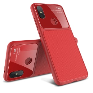 LENUO Tempered Glass Lens TPU Phone Cover for Xiaomi Mi A2 / Mi 6X - Red