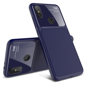 LENUO Tempered Glass Lens TPU Mobile Shell Case for Xiaomi Mi A2 / Mi 6X - Dark Blue