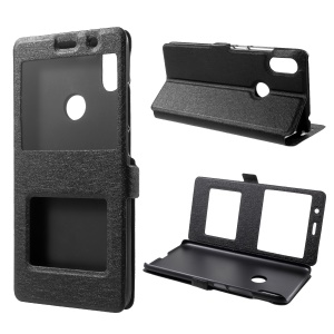 Silk Texture Dual View Window Leather Stand Flip Cover for Xiaomi Redmi S2 / Y2 - Black