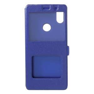 Silk Texture Dual View Window Leather Stand Mobile Phone Casing for Xiaomi Redmi S2 / Y2 - Blue