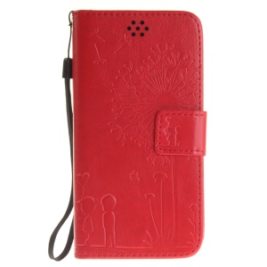 Dandelion and Lovers Phone Leather Wallet Case for Xiaomi Redmi 3s - Red