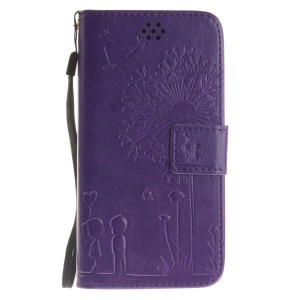 Dandelion and Lovers Leather Wallet Case for Xiaomi Redmi 3s - Purple