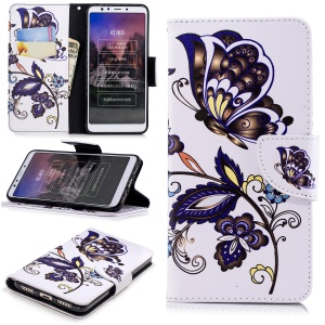 Pattern Printing Wallet Stand Leather Flip Case for Xiaomi Redmi 5 - Butterfly and Flower