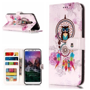 Embossed Patterned Leather Wallet Case for Xiaomi Redmi Note 5 (12MP Rear Camera)/Redmi 5 Plus - Owl and Dream Catcher