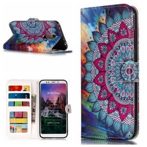 Embossed Patterned Leather Mobile Shell for Xiaomi Redmi Note 5 (12MP Rear Camera)/Redmi 5 Plus - Mandala Flower