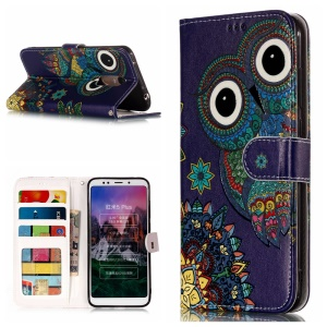 Embossed Patterned Leather Cover Case for Xiaomi Redmi Note 5 (12MP Rear Camera)/Redmi 5 Plus - Adorable Owl