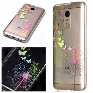Colorful Laser Carving Patterned TPU Mobile Phone Shell for Xiaomi Redmi Note 5 (12MP Rear Camera) / Redmi 5 Plus (China) - Dandelion and Butterflies