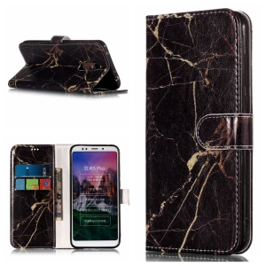 Patterned PU Leather Phone Case for Xiaomi Redmi Note 5 (12MP Rear Camera) / Redmi 5 Plus (China) - Black Marble Pattern