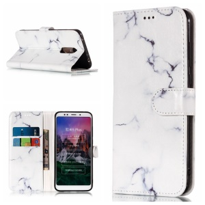 Patterned Stand Leather Wallet Cover for Xiaomi Redmi Note 5 (12MP Rear Camera) / Redmi 5 Plus (China) - White Marble Pattern
