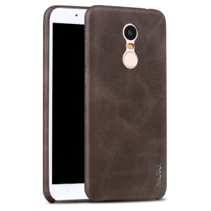 X-LEVEL Vintage Series Leather Coated Hard Phone Case for Xiaomi Redmi Note 5 (12MP Rear Camera) / Redmi 5 Plus (China) - Coffee