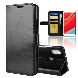 Crazy Horse Wallet Leather Stand Case for Xiaomi Redmi S2 / Y2 - Black