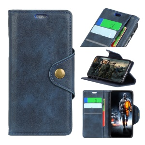 PU Leather Wallet Stand Mobile Shell for Xiaomi Redmi 6A (Single 12MP Rear Camera) - Blue