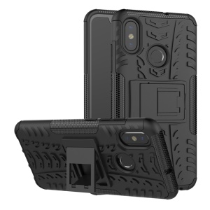 Snap-on Anti-slip PC + TPU Hybrid Cover Case with Kickstand for Xiaomi Mi 8 (6.21-inch) - Black