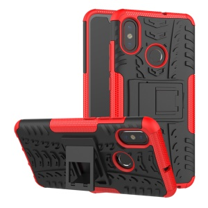 Snap-on Anti-slip PC + TPU Hybrid Case with Kickstand for Xiaomi Mi 8 (6.21-inch) - Red