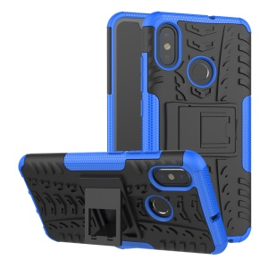 Snap-on Anti-slip PC + TPU Hybrid Cover Accessory with Kickstand for Xiaomi Mi 8 (6.21-inch) - Blue