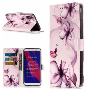 Patterned Leather Wallet Stand Phone Case for Xiaomi Redmi Note 5 Pro (Dual Camera) / Redmi Note 5 (China) - Purple Flower